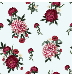 seamless pattern with dahlia peonies and wild vector image