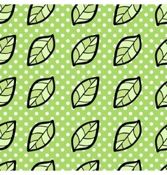 Seamless pattern with leaf on dotted background vector image