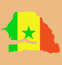 Senegal flag on map of country isolated vector