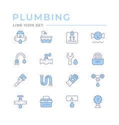 set color line icons plumbing vector image