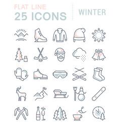 Set flat line icons winter vector