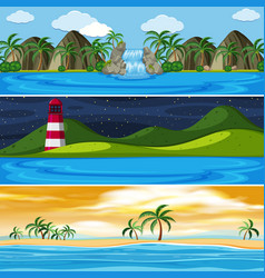 Set of panorama landscape vector