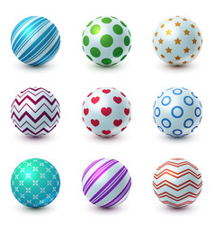 set texture ball - realistic icon vector image