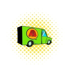 Sign for advertising on a truck icon comics style vector image