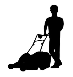 Silhouette a man with lawn mower vector