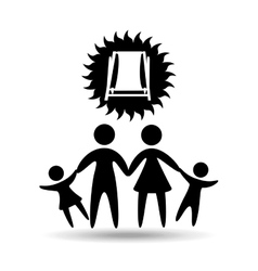 silhouette family vacation chair break beach vector image