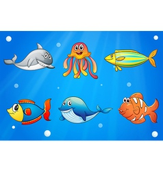 Six smiling sea creatures under the deep sea vector