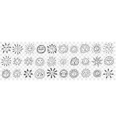 smiling suns assortment doodle set vector image