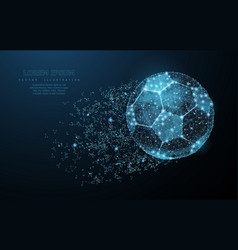 soccer ball low poly wireframe mesh on dark blue vector image