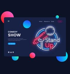 Stand up neon creative website template design vector