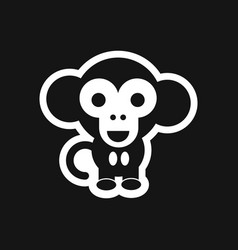 Stylish black and white icon little monkey vector