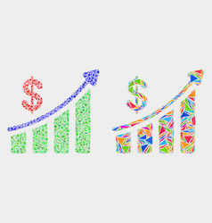 Success financial chart mosaic icon of vector