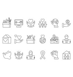 Symbols of volunteers and charities organisations vector