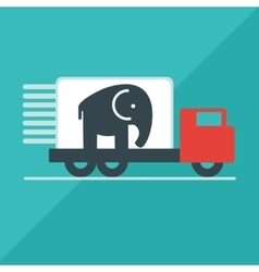 The truck delivers the elephant vector image