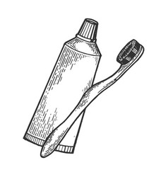 Toothbrush and toothpaste engraving style vector