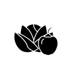 vegetables and fruits black icon sign on vector image