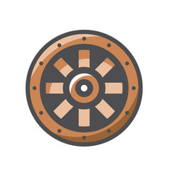 viking shield protection icon cartoon vector image