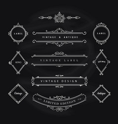 vintage banner elements flourishes calligraphic vector image
