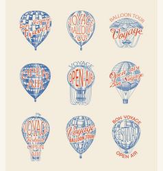 Vintage hot air balloon badges set retro vector