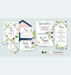 Wedding invite menu rsvp thank you label save vector