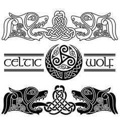 Wolfs in celtic style celtic pattern and celtic vector