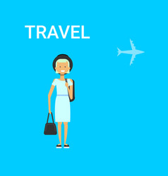 woman traveller with bag young caucasian female vector image