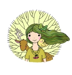 Young beautiful girl fairy deer bird and tree vector