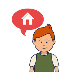 young man avatar character with speech bubble vector image