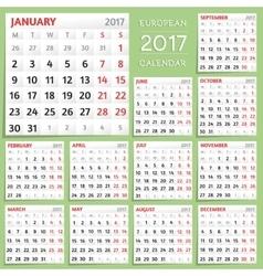 2017 Calendar Design Week starts from Monday vector image vector image