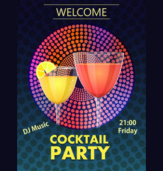 cocktail party invitation card vector image