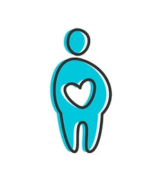 love heart person icon vector image vector image