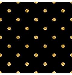 Polka dot small gold 1 black vector image