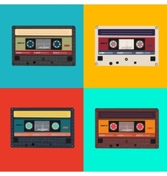 Realistic of colorful radio cassettes vector image