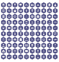 100 business career icons hexagon purple vector image vector image
