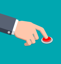 a hand in suit press button - vector image vector image