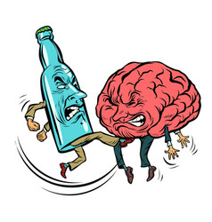 alcoholism destroys the brain drunk fight bottle vector image vector image