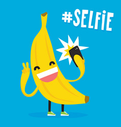 cute kawaii banana taking selfie vector image vector image