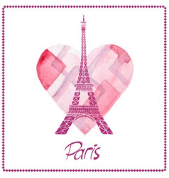 eiffel tower paris france love vector image vector image