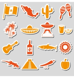 Mexico country theme symbols stickers set eps10 vector image vector image
