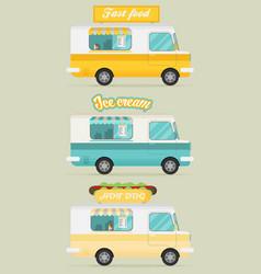 set of color food truck street food truck concept vector image vector image