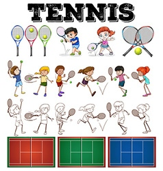 Set of tennis with players and equipments vector image