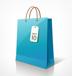 Shopping blue bag vector image vector image