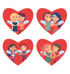 couples in love valentine day vector image