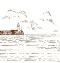 Hand drawn sea bay vector image vector image