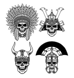 set of warrior skull characters vector image vector image