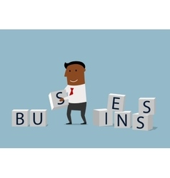 Cartoon businessman building a business vector image vector image