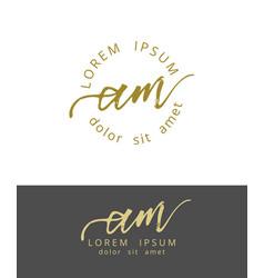 A m initials monogram logo design dry brush vector