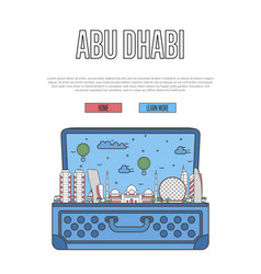 Abu dhabi city poster with open suitcase vector