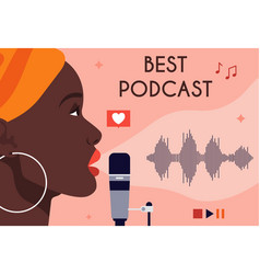 African american woman recording podcast vector