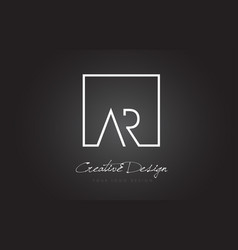 ar square frame letter logo design with black and vector image